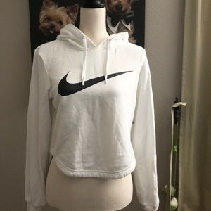 Nike crop white hoodie with swoosh logo front
